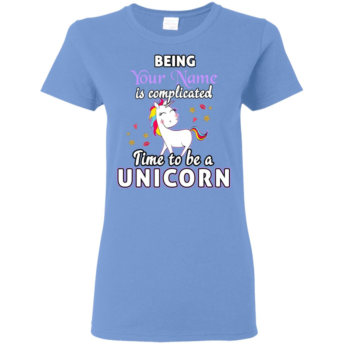 Time To Be A Unicorn Personalized T-Shirt Apparel Carolina Blue S