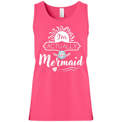 I'm Actually A Mermaid Girls Tank Top Mermaid Apparel Neon Pink YXS