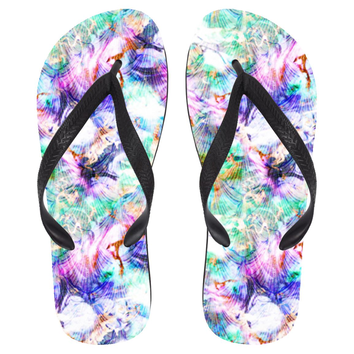 Marbled Mermaid Flip Flops Mermaid Shoes Large