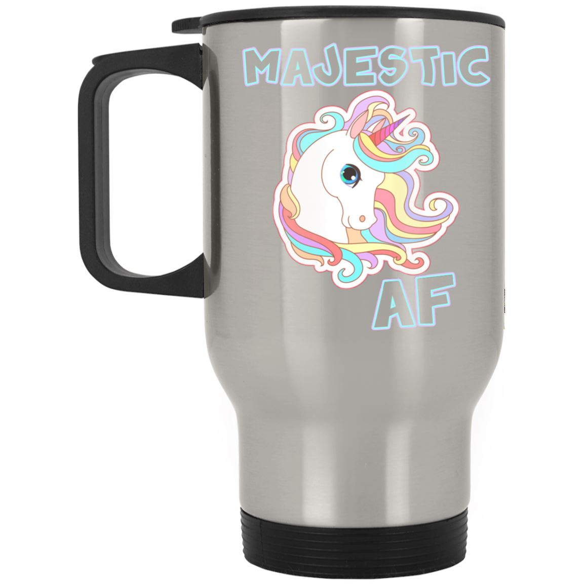 Majestic AF Unicorn Stainless Travel Mug Drinkware Silver One Size