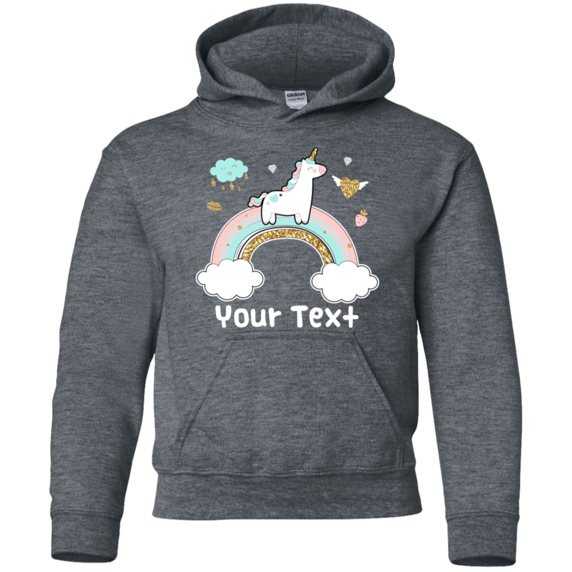 Personalized Rainbow Unicorn Youth Pullover Hoodie Sweatshirts Dark Heather YS