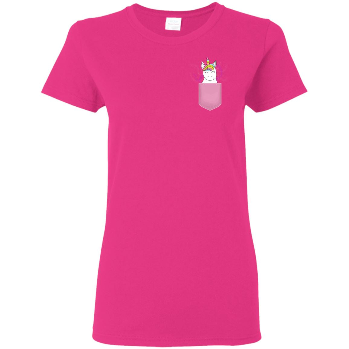 Magical Unicorn Pocket Print T-Shirt Apparel Heliconia S