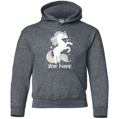 Personalized Sweet Unicorn Youth Pullover Hoodie Sweatshirts Dark Heather YS