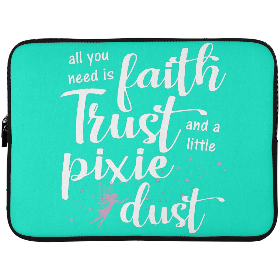 Pixie Dust Fairy Laptop Sleeve Apparel Laptop Sleeve - 15 Inch Teal One Size