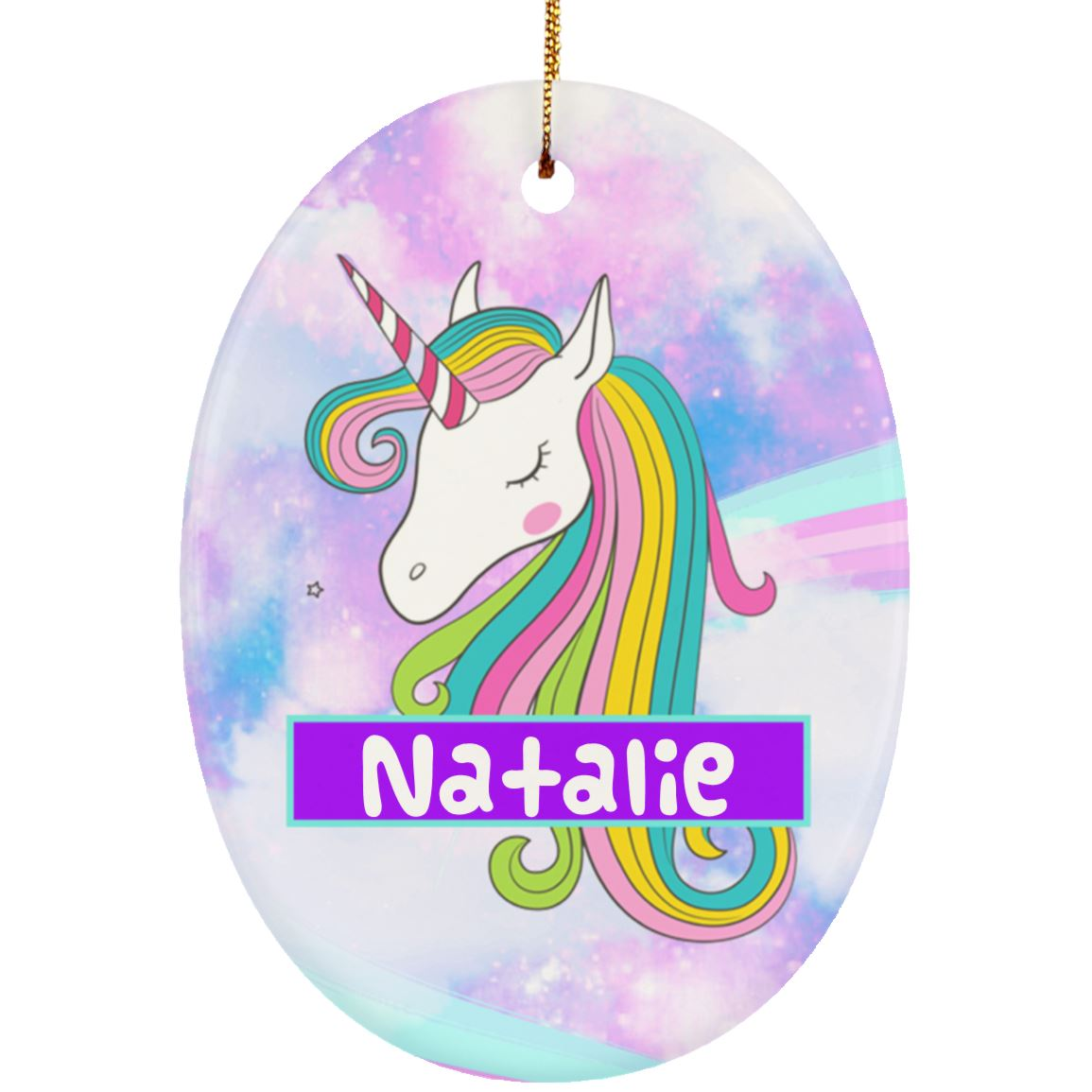 Unicorn Clouds Personalized Ornament Housewares One Size