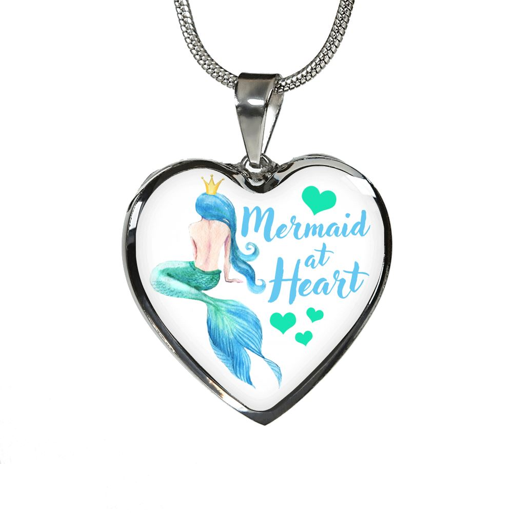 Mermaid At Heart Luxury Heart Necklace Mermaid Jewelry Luxury Necklace (Silver) No