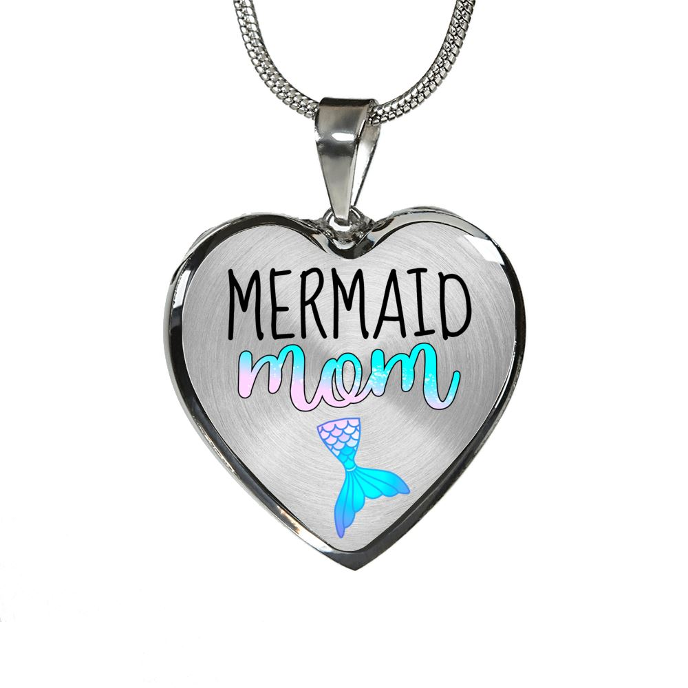 Mermaid Mom Luxury Heart Necklace Mermaid Jewelry Luxury Necklace (Silver) No