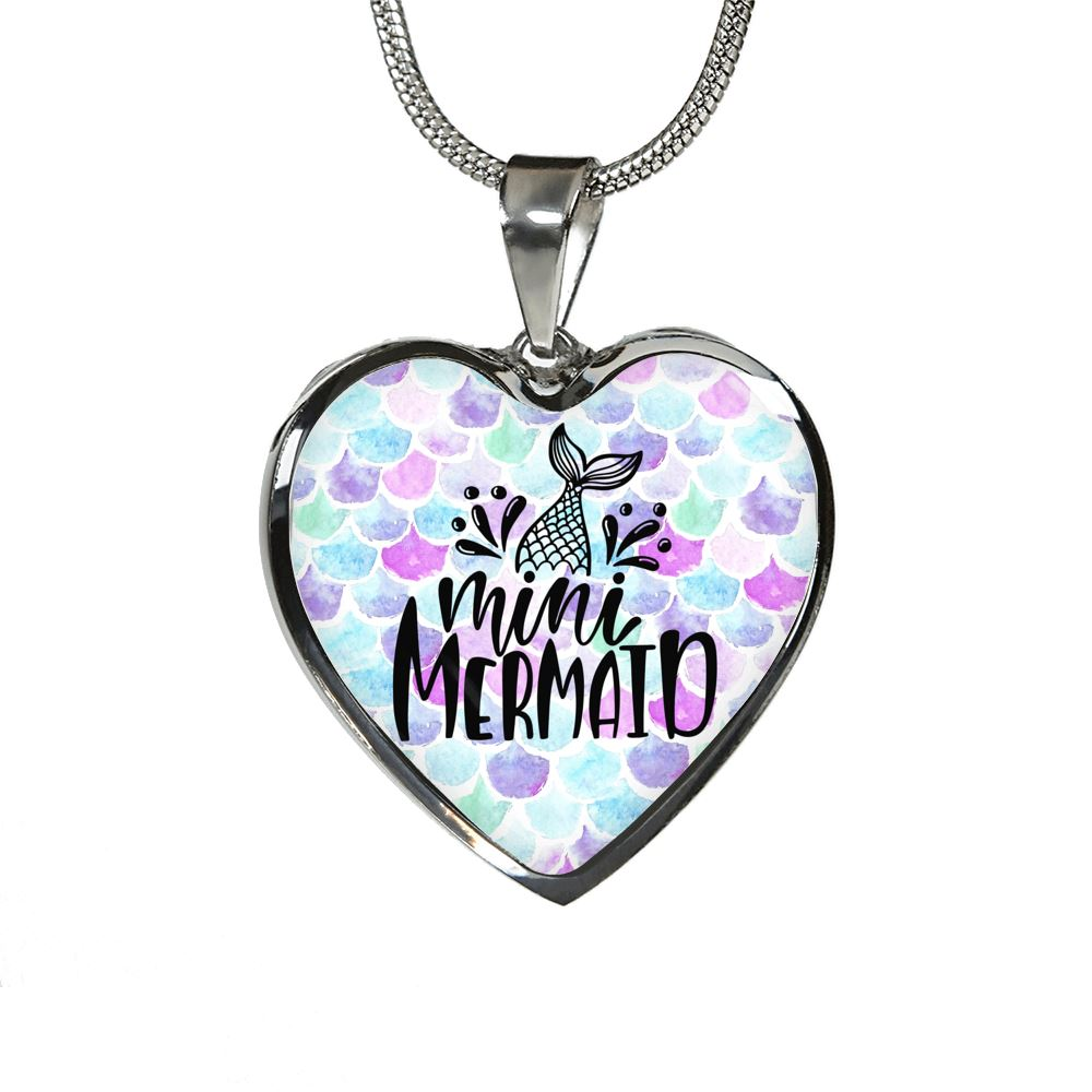 Mini Mermaid Luxury Heart Necklace Mermaid Jewelry Luxury Necklace (Silver) No