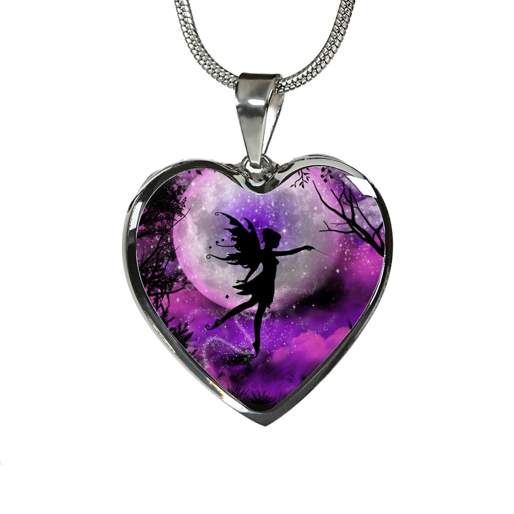 Fairy Moon Luxury Heart Necklace Jewelry Luxury Necklace (Silver) No