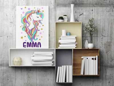 Personalized Unicorn Portrait Art Canvas Home Decor
