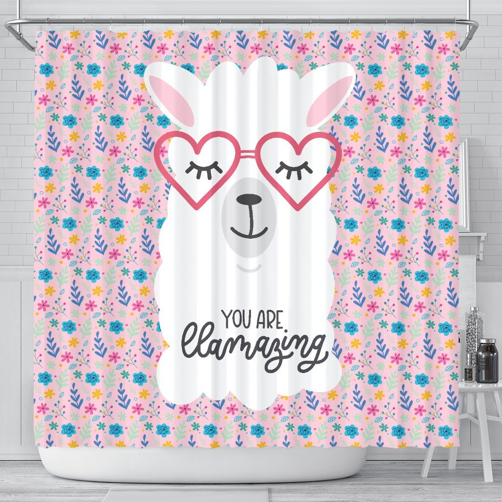 You Are Llamazing Llama Bathroom Shower Curtain Llama Home Decor