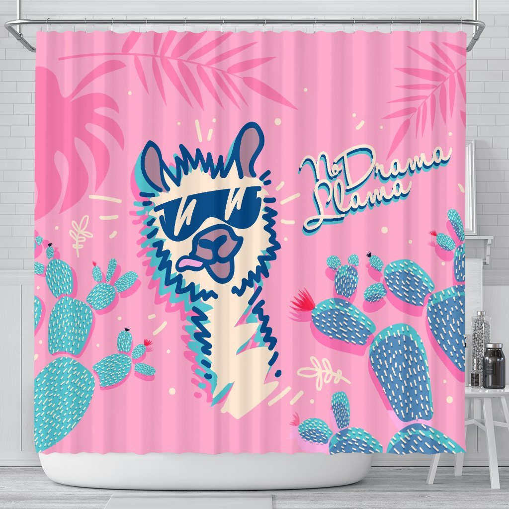 No Drama Llama Bathroom Shower Curtain Llama Home Decor