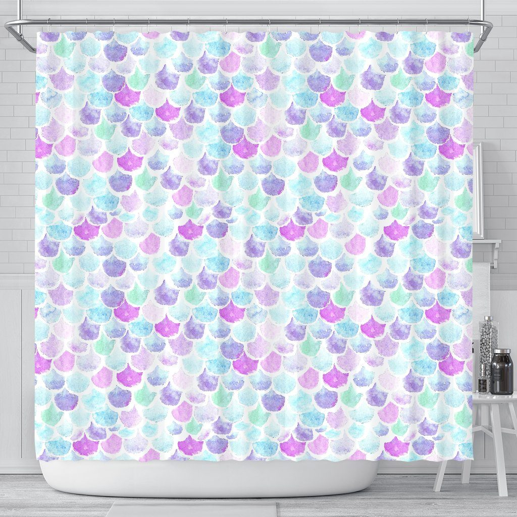 Pastel Mermaid Scales Shower Curtain Mermaid Home Decor
