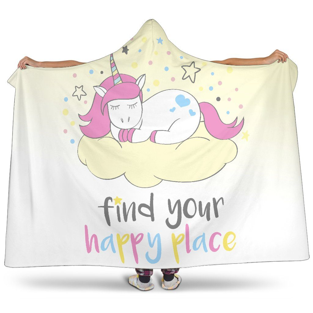 Find Your Happy Place Unicorn Hoodie Blanket