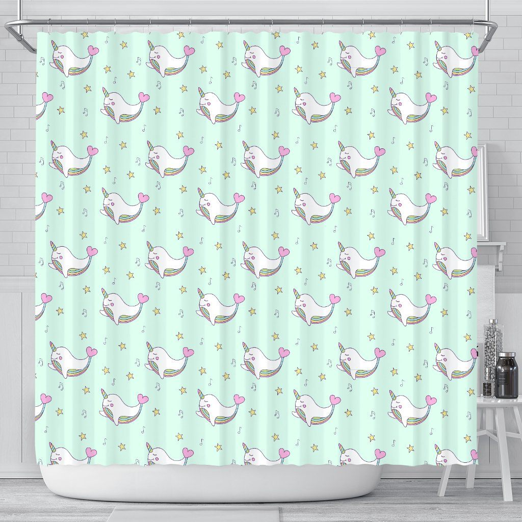 Narwhal Unicorn Shower Curtain Shower Curtains