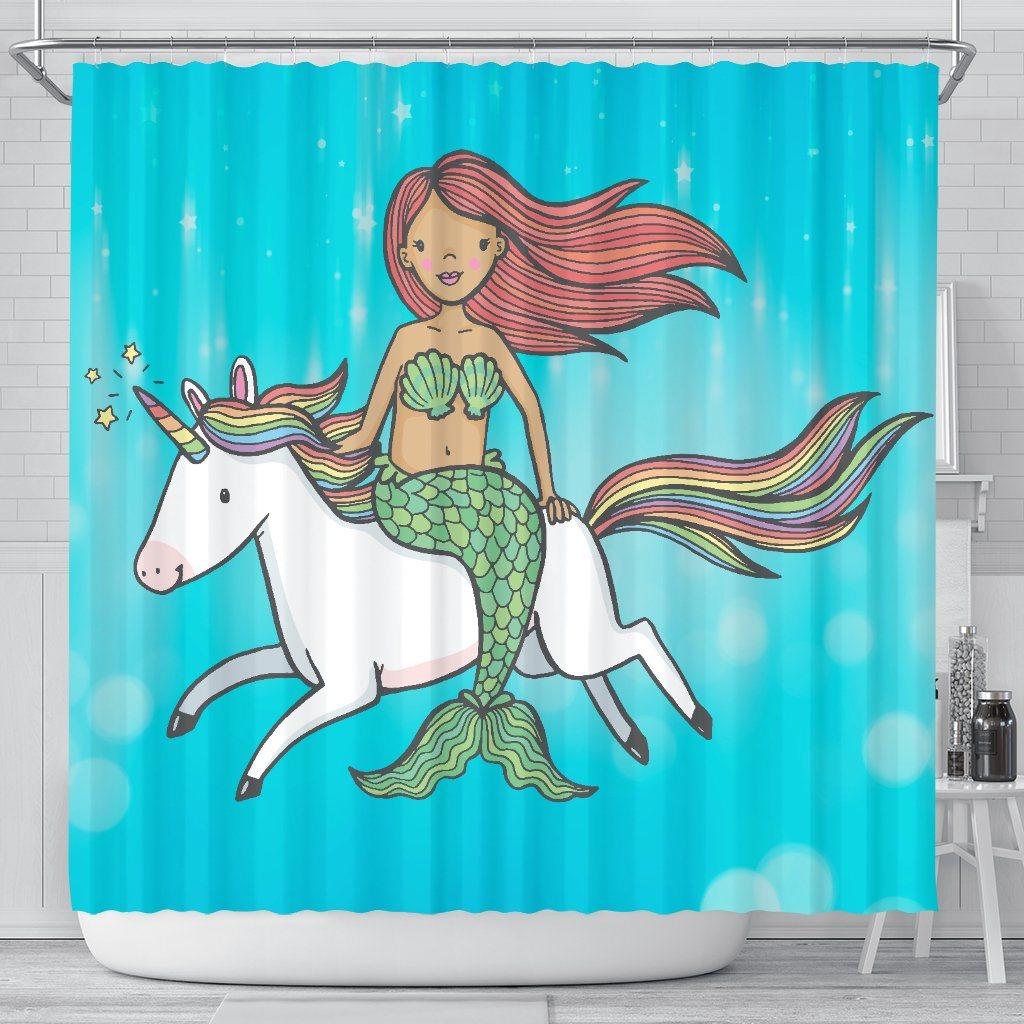 Mermaid Unicorn Bathroom Shower Curtain Mermaid Home Decor