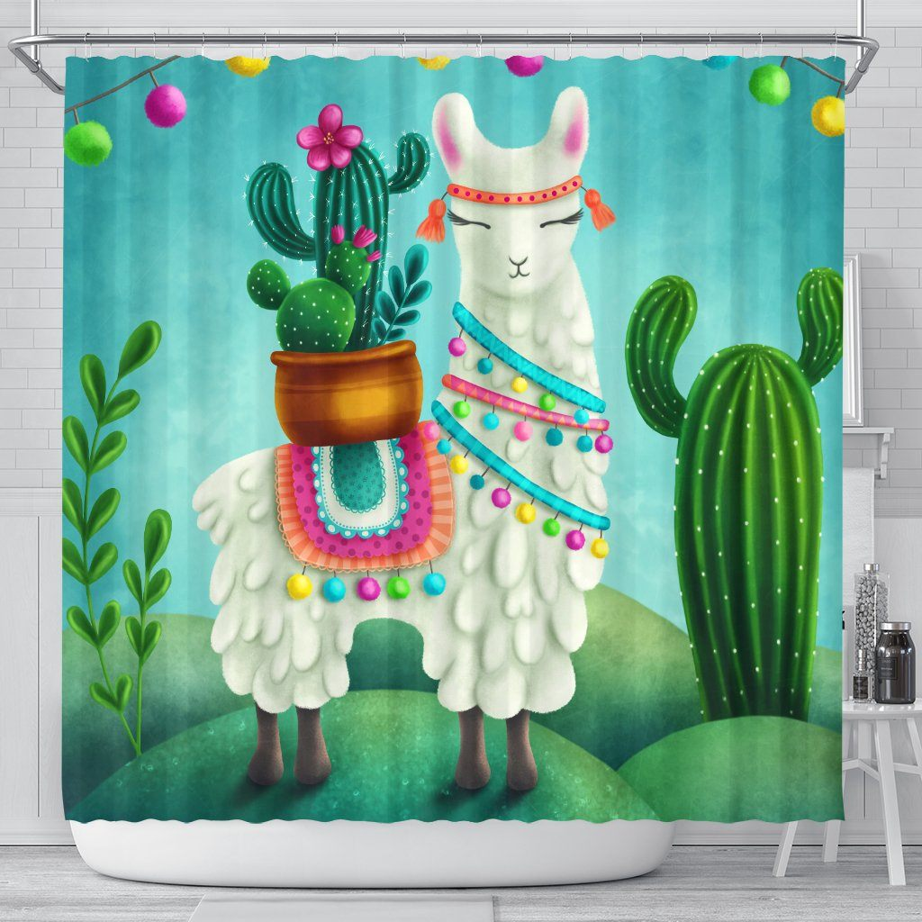 Festive Llama Bathroom Shower Curtain Llama Home Decor