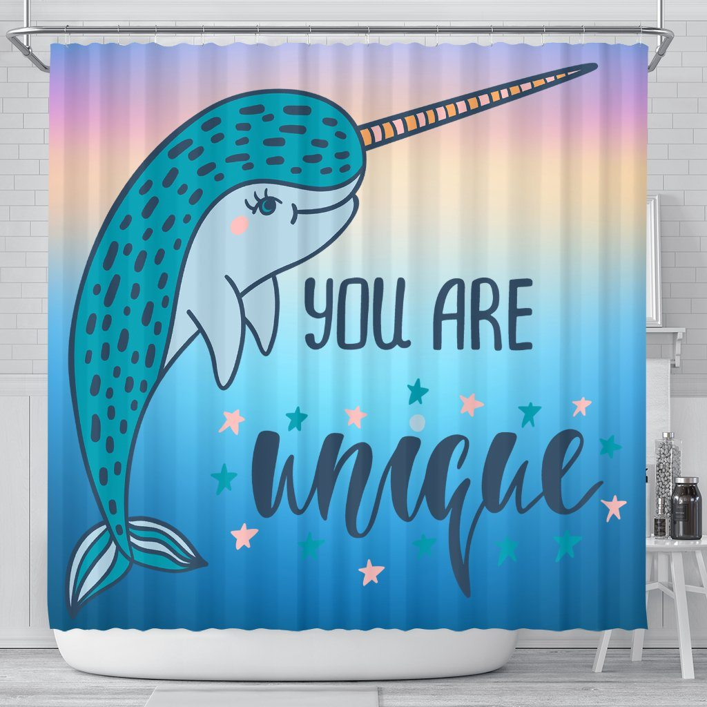 You Are Unique Narwhal Bathroom Shower Curtain Mermaid Home Decor