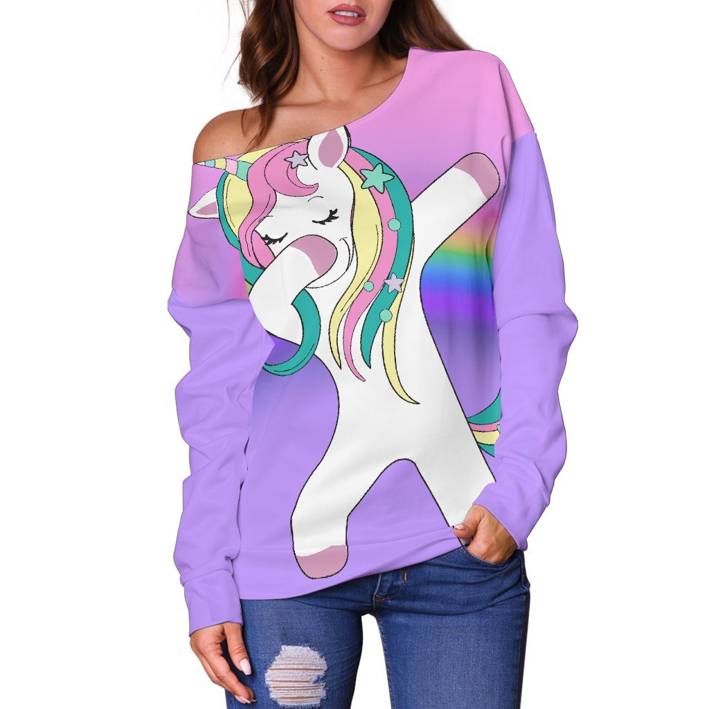 Dabbing Unicorn Off The Shoulder Sweatshirt - Express Delivery