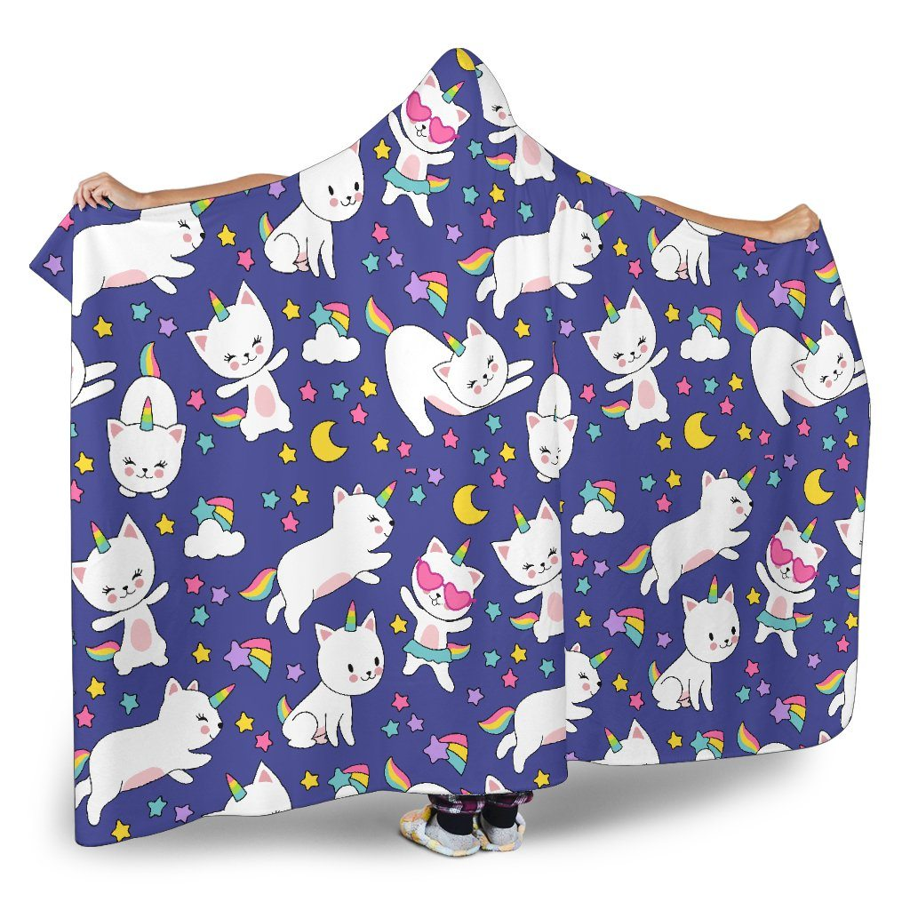 Kitty Cat Unicorn Hoodie Blanket Hooded Blanket