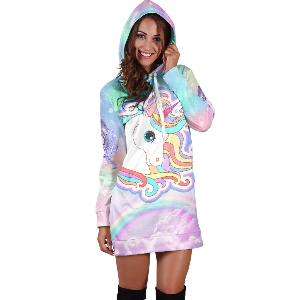 Unicorn Sparkle Hoodie Dress Sweatshirt