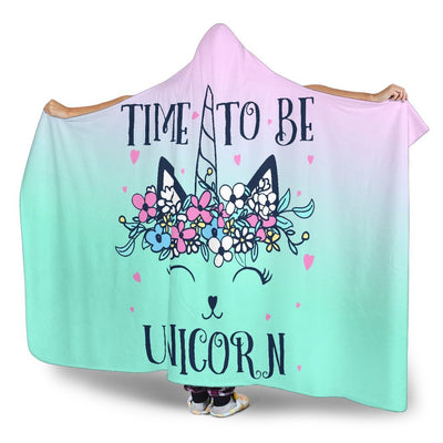 Time To Be A Unicorn Hoodie Blanket blankets