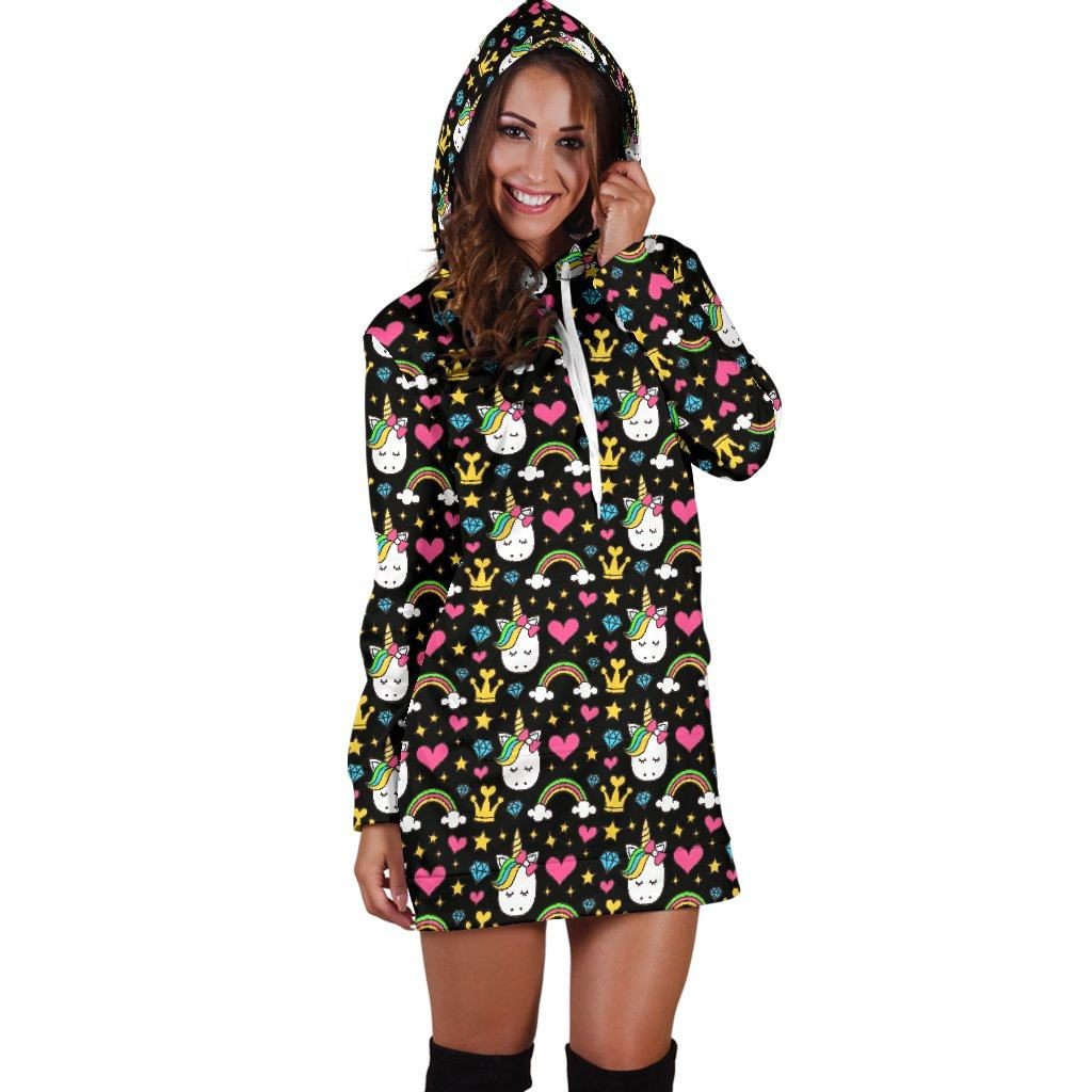 Unicorn Diamond Women's Hoodie Dress