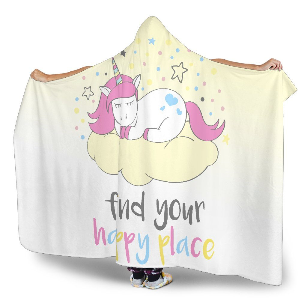 Find Your Happy Place Unicorn Hoodie Blanket Hooded Blanket