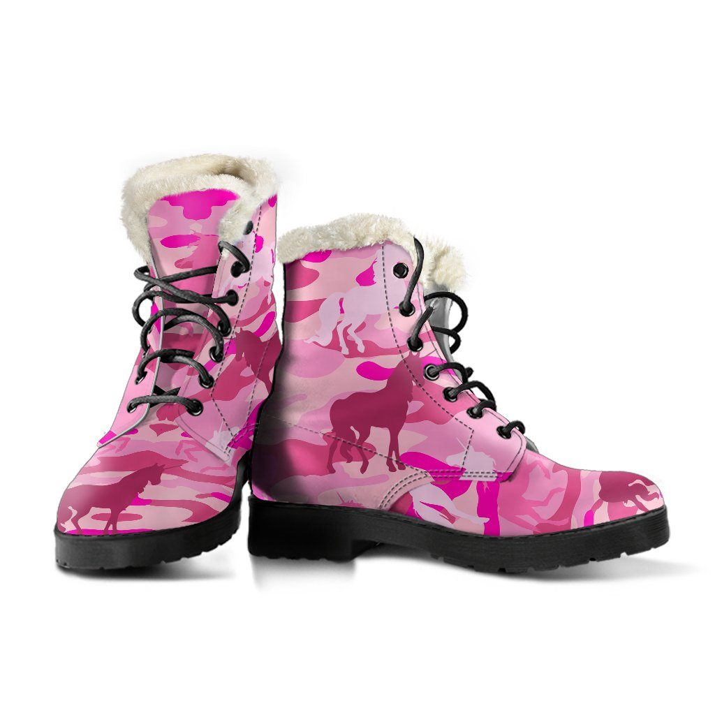 Unicorn Camo Furry Leather Boots Furry Boots