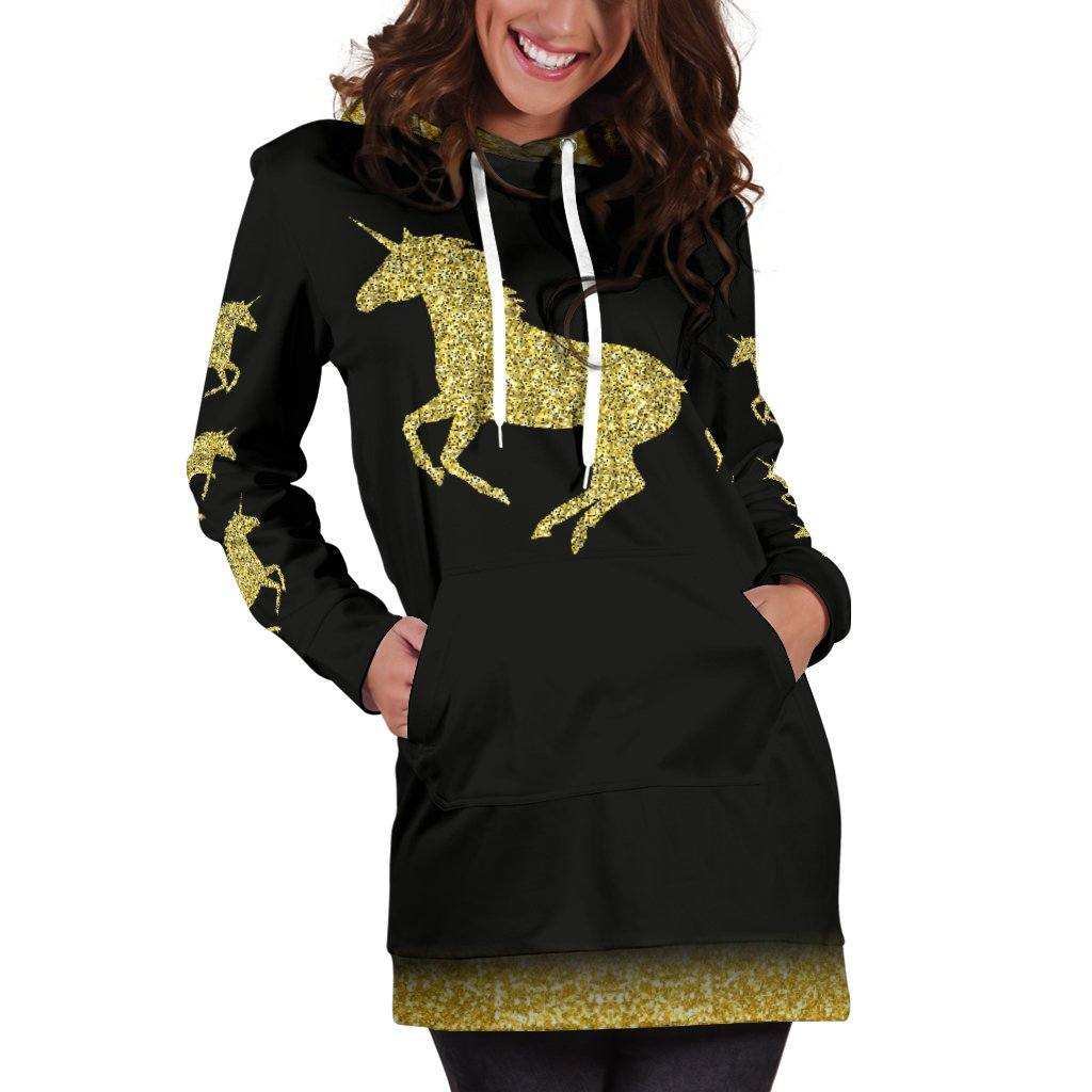 Gold Unicorn Women's Hoodie Dress Sweatshirt