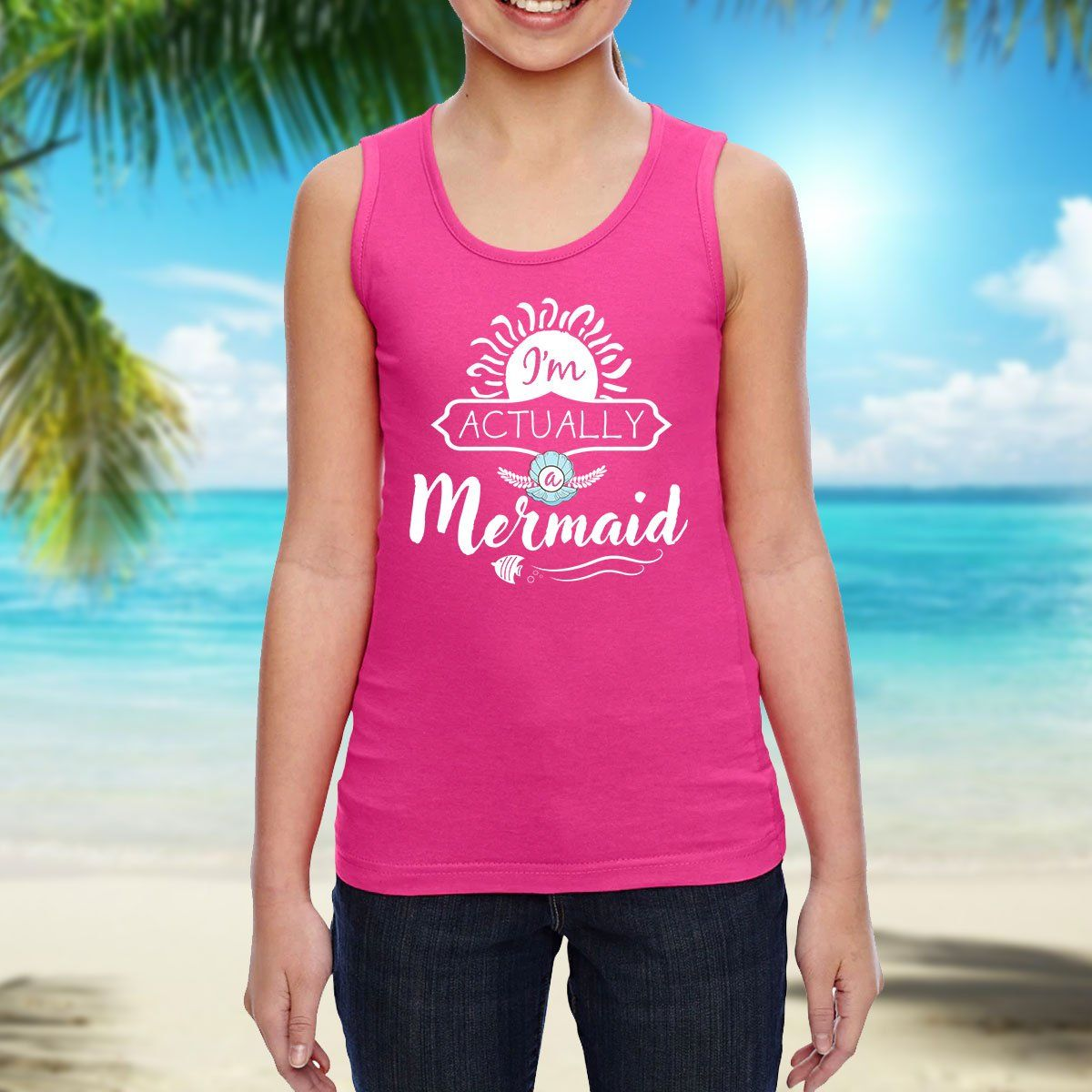 I'm Actually A Mermaid Girls Tank Top Mermaid Apparel
