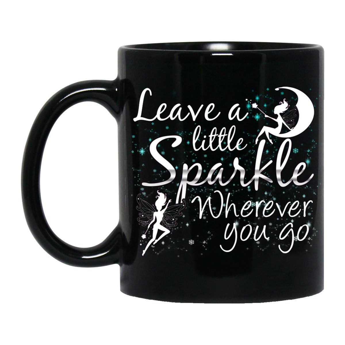 Leave A Little Sparkle Fairy Black Mug Drinkware Black One Size