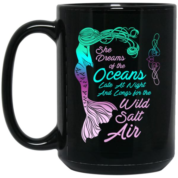 Mermaid Dreams Black Mug Mermaid Drinkware 15 oz