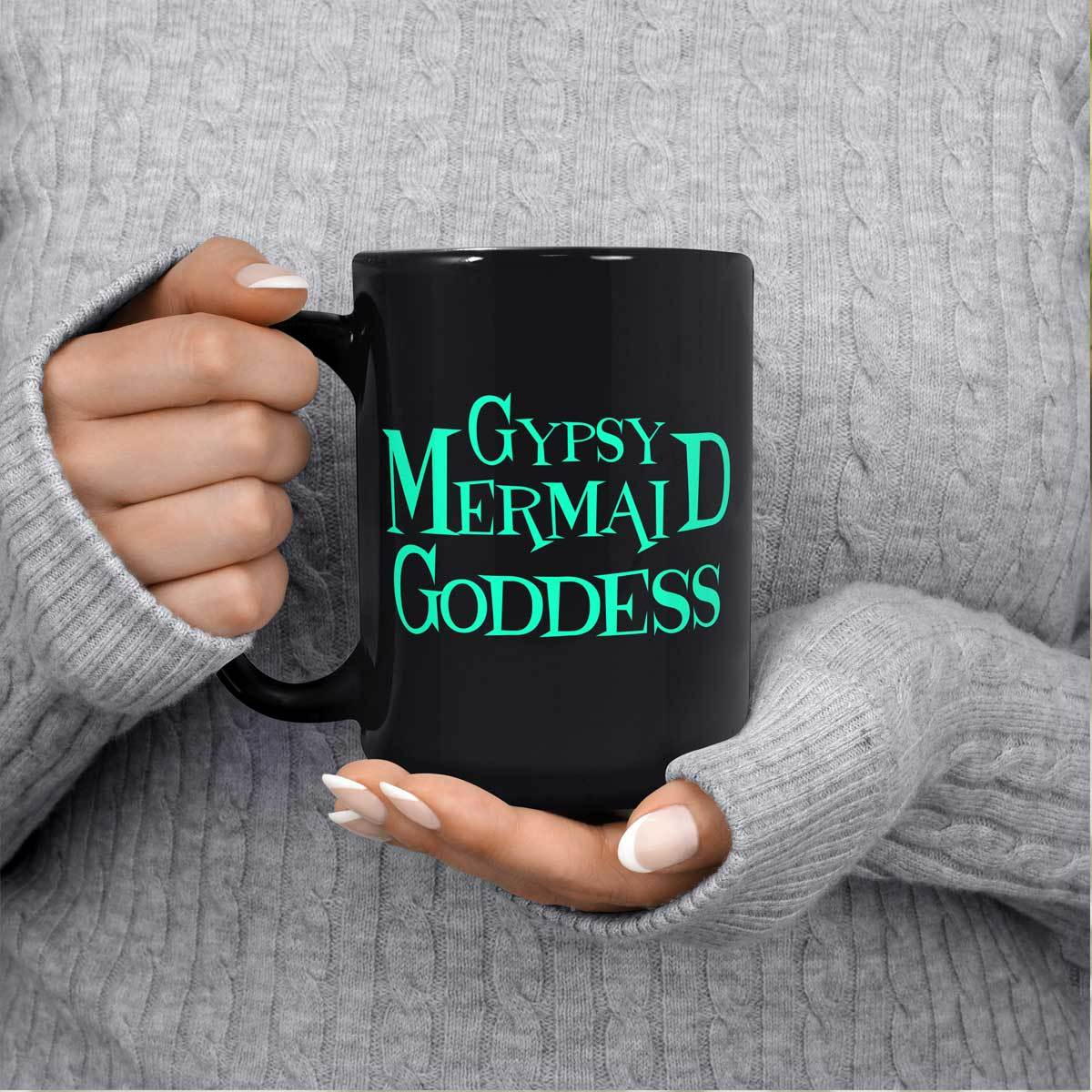 Gypsy Mermaid Goddess Black Mug Mermaid Drinkware