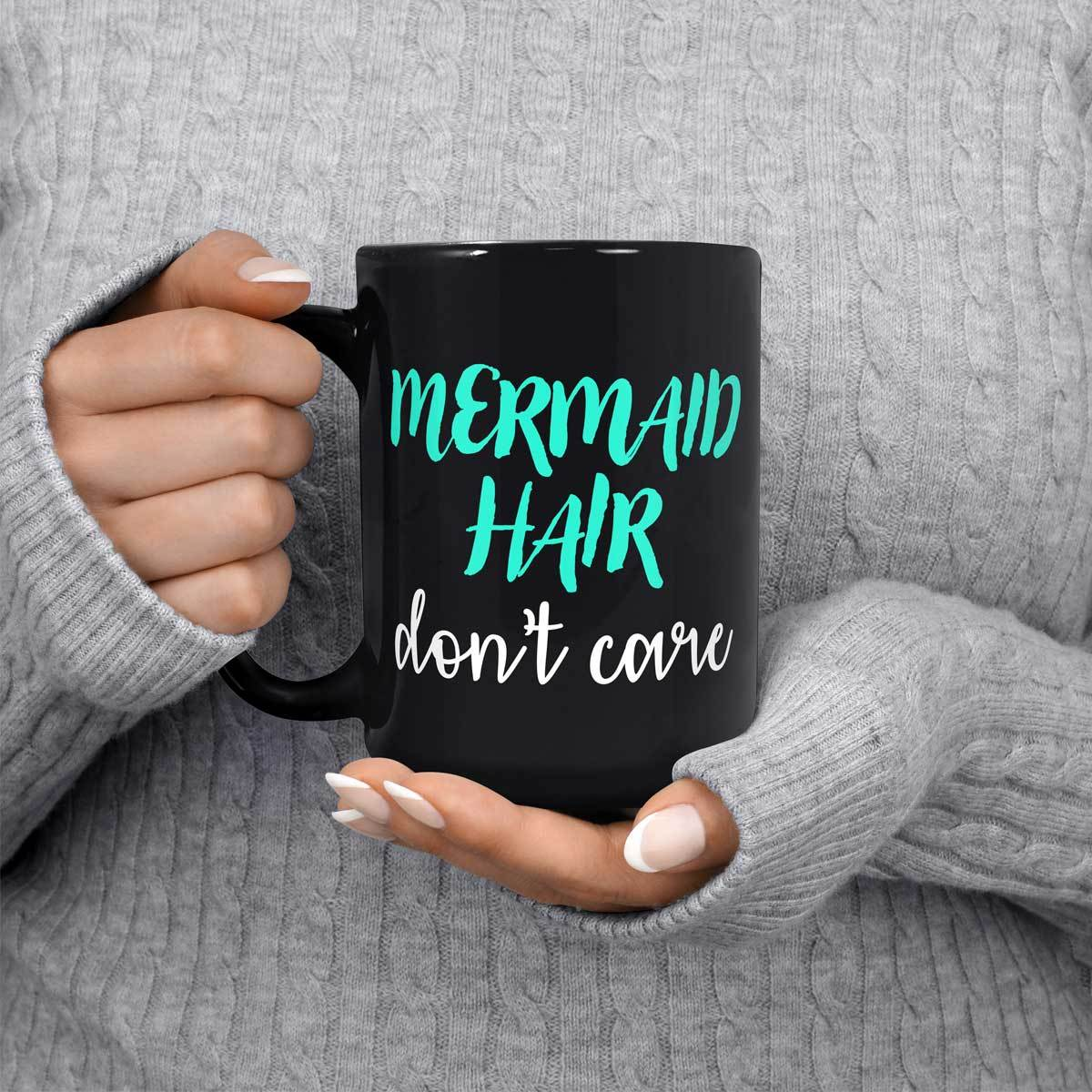 Mermaid Hair Black Mug Mermaid Drinkware