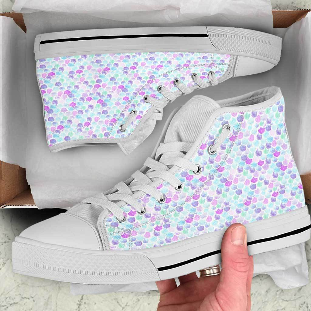 Mermaid Scales Women's High Top Sneakers Mermaid Shoes