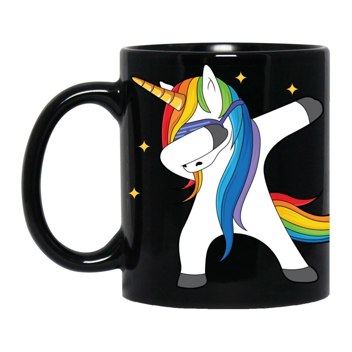 Dabbing Unicorn Black Mug Drinkware