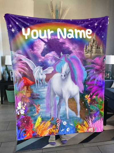 Personalized Unicorn Wonderland Premium Sherpa Blanket