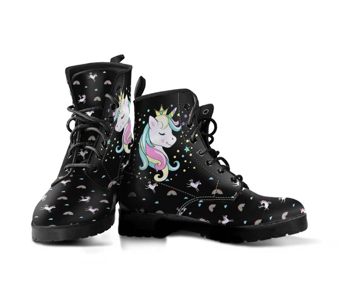 Unicorn Queen Women's Leather Boots Furry Boots