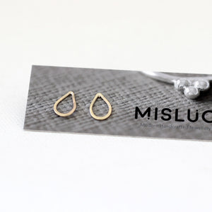 Gold Rain Drop Stud Earrings