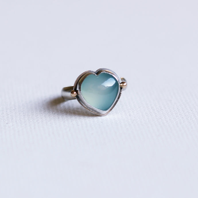 Aqua Heart Sterling Silver and 14k Gold Ring