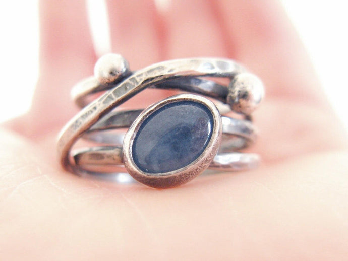 Aquamarine Silver Wrapping Ring
