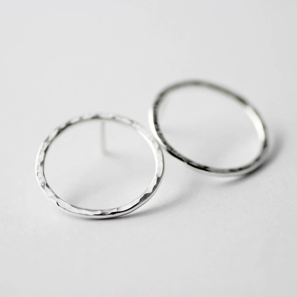 Hammered Circle Sterling Silver Post Earrings