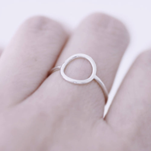 Hammered Circle Sterling Silver Ring