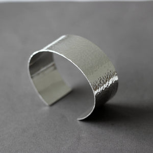 Wide Hammered Sterling Silver Cuff Bracelet