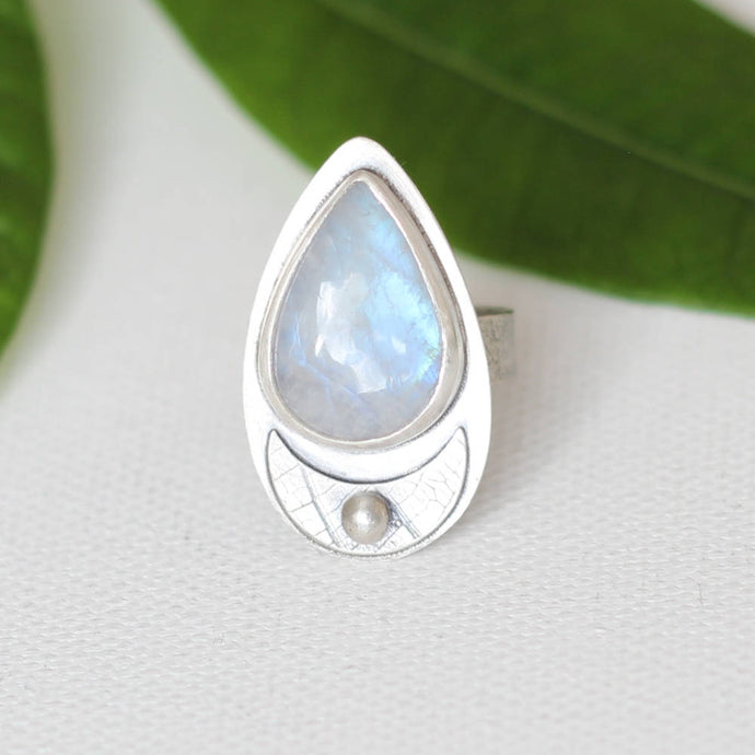 Moonstone Sterling Silver Ring OOAK