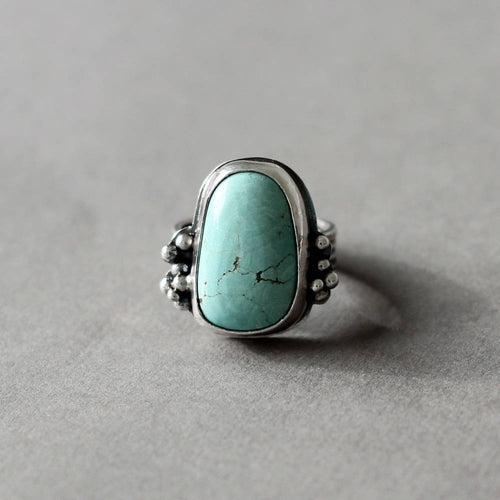 Sky Blue Turquoise Sterling Silver Wide Band