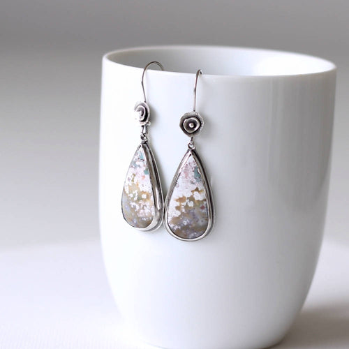 Dreams of Spring Ocean Jasper Sterling Silver Earrings