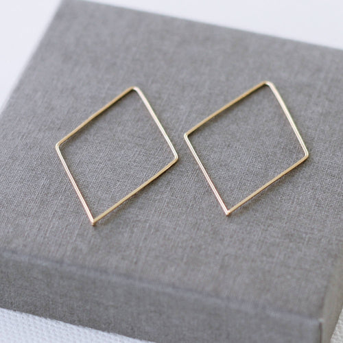 Solid Gold Diamond Hoops