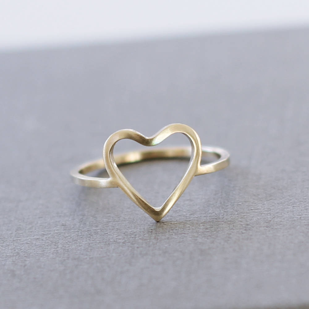 Solid Yellow Gold Open Heart Ring